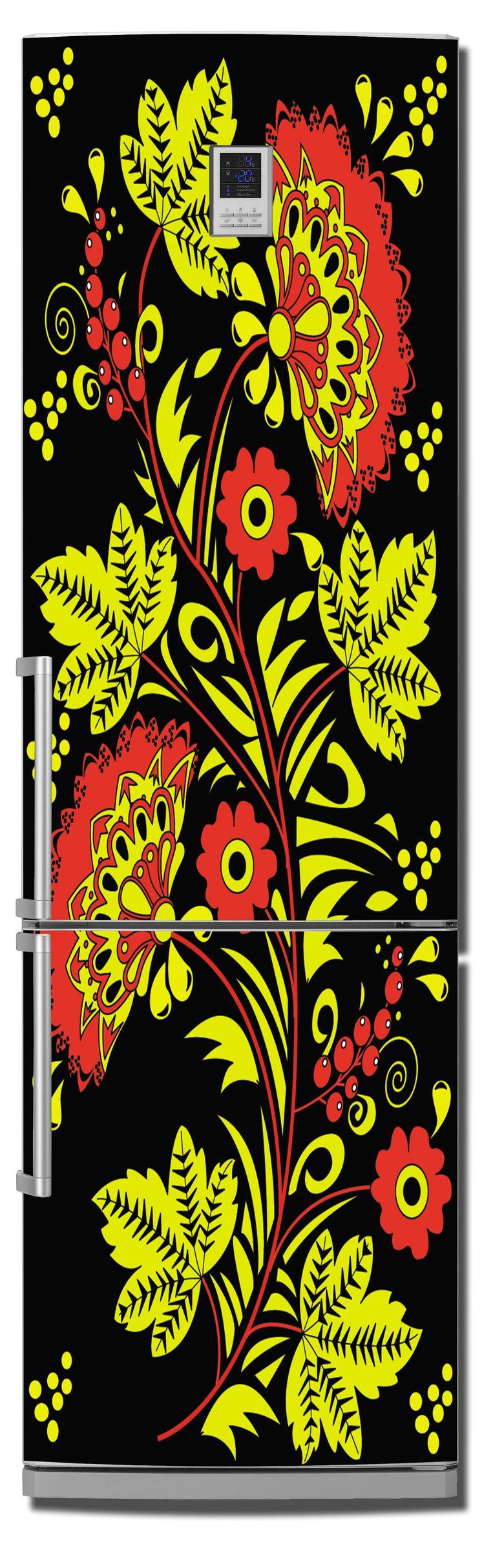 Виниловая наклейка на холодильник -  Хохлома 1
