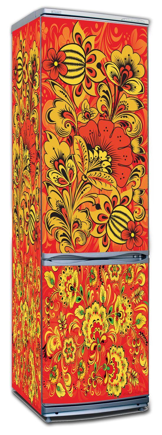 наклейка на холодильник -  Хохлома 2