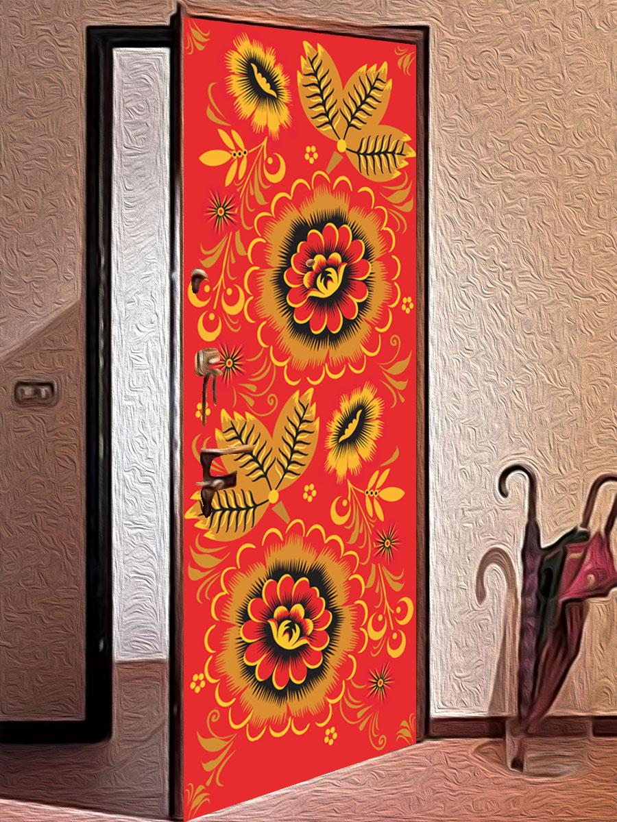 Виниловая наклейка на дверь - Узоры хохломы