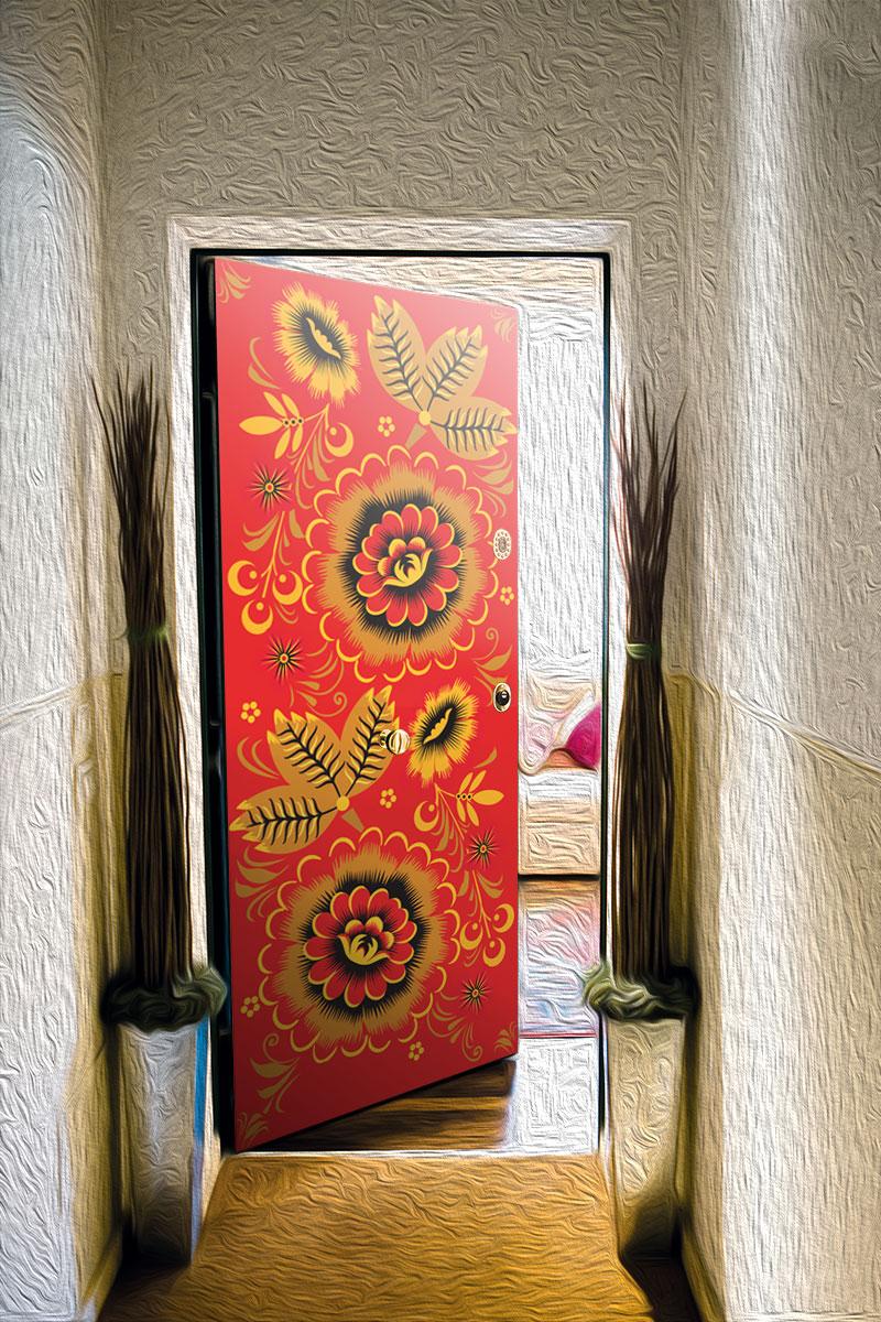Виниловый стикер на дверь - Узоры хохломы