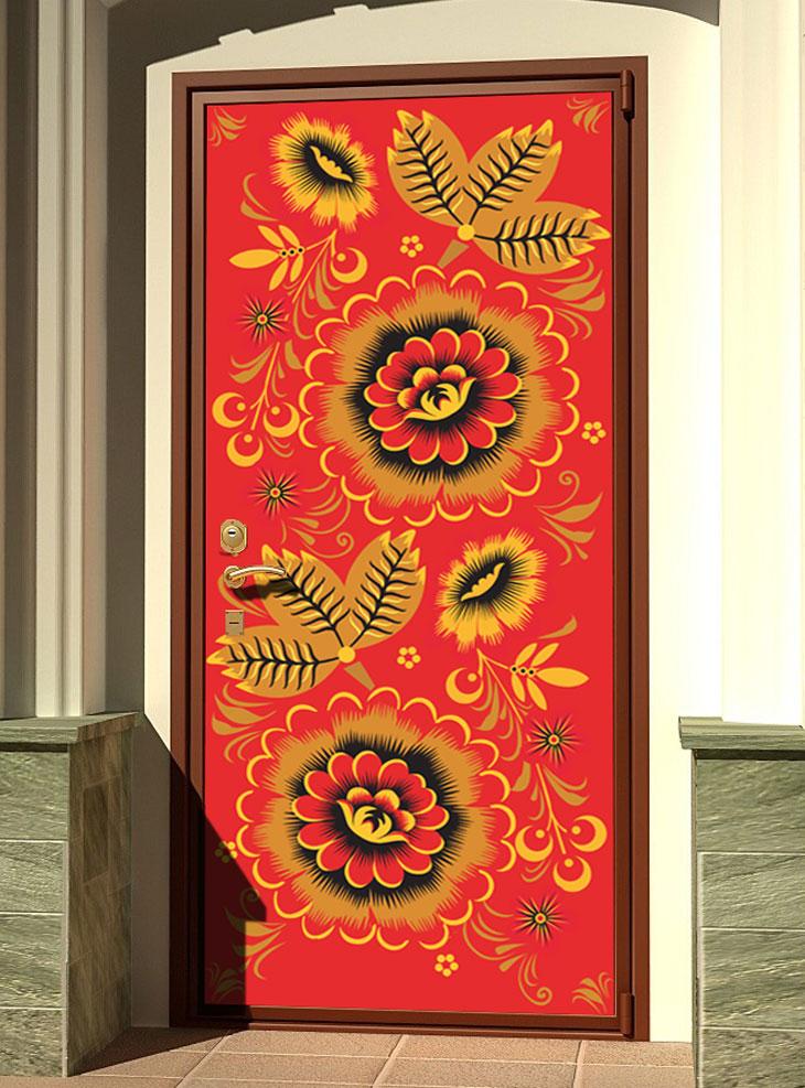 стикер на дверь - Узоры хохломы