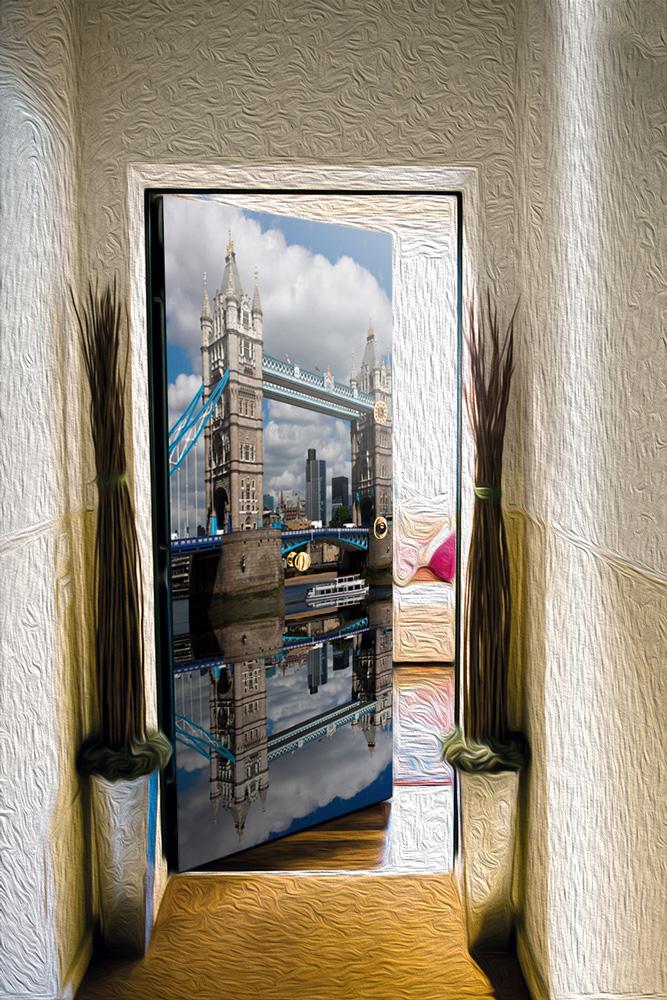 Виниловый стикер на дверь -  Лондонский мост