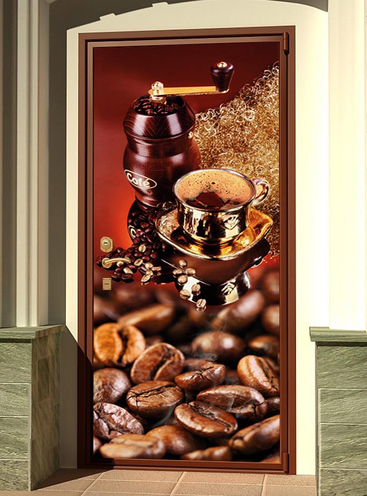 Виниловая наклейка на дверь - Кофе 4. Красное дерево.