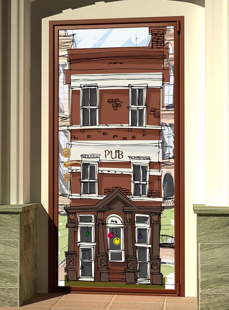 Виниловая наклейка на дверь - Паб