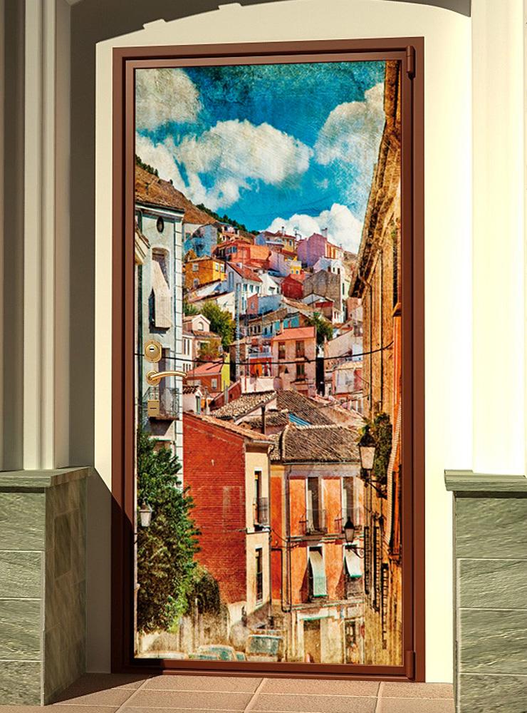 Виниловая наклейка на дверь - Город у моря