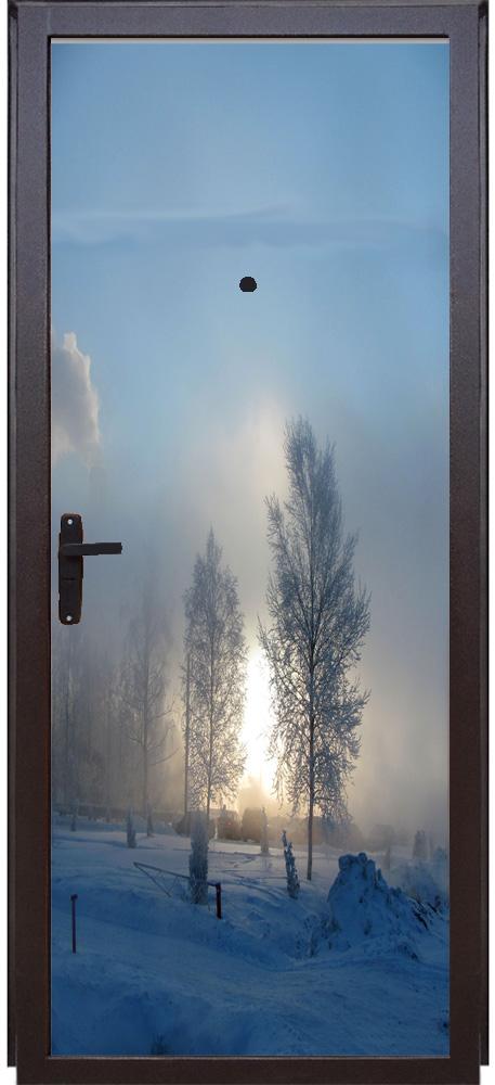 Виниловая наклейка на дверь - Зимнее утро!
