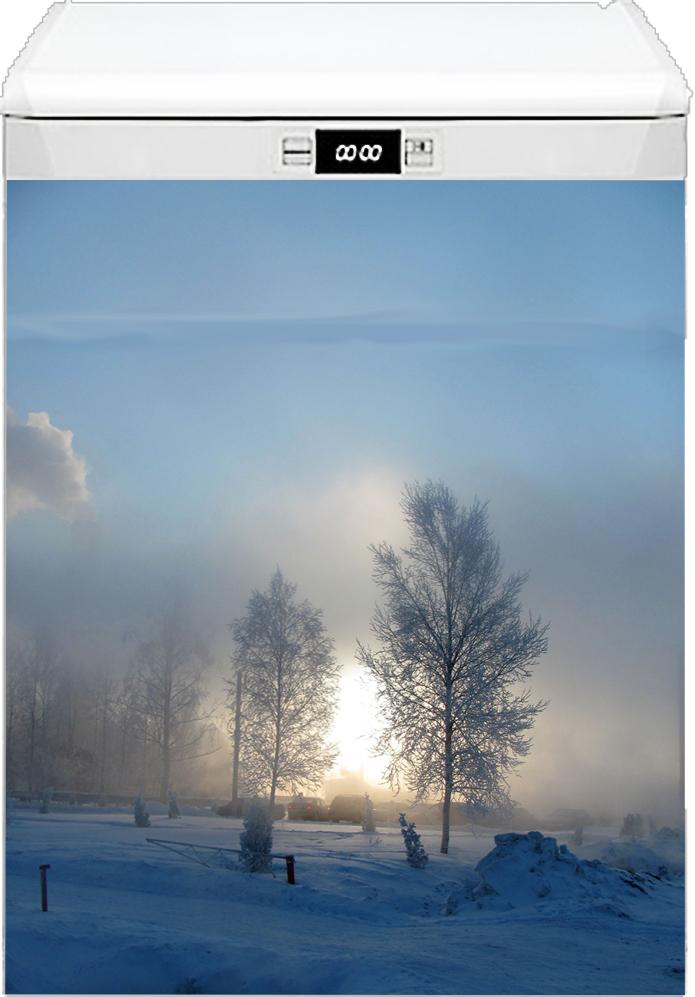 Наклейка на посудомоечную машину  - Зимнее утро