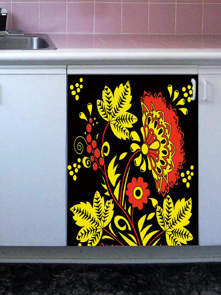 Наклейка на посудомоечную машину - Хохлома на черном