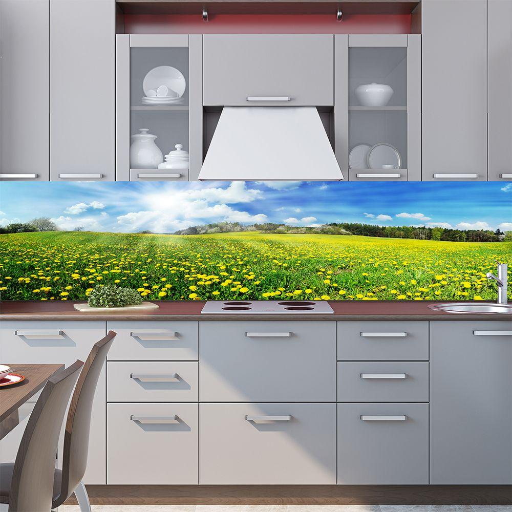Фартук кухни с фотопечатью - Поле одуванчиков