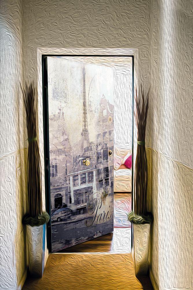 Виниловая наклейка на дверь - Ретро открытка