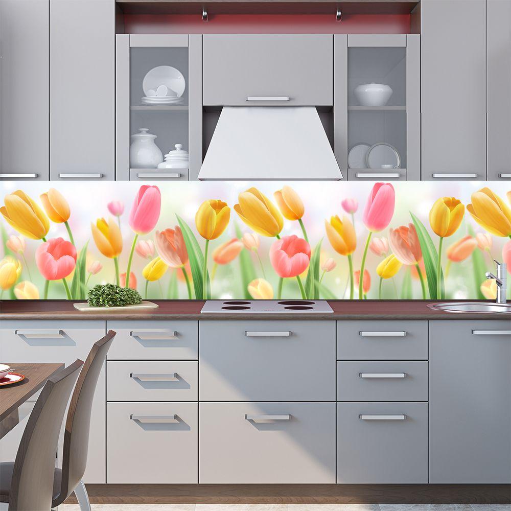наклейка на фартук кухни - Тюльпаны