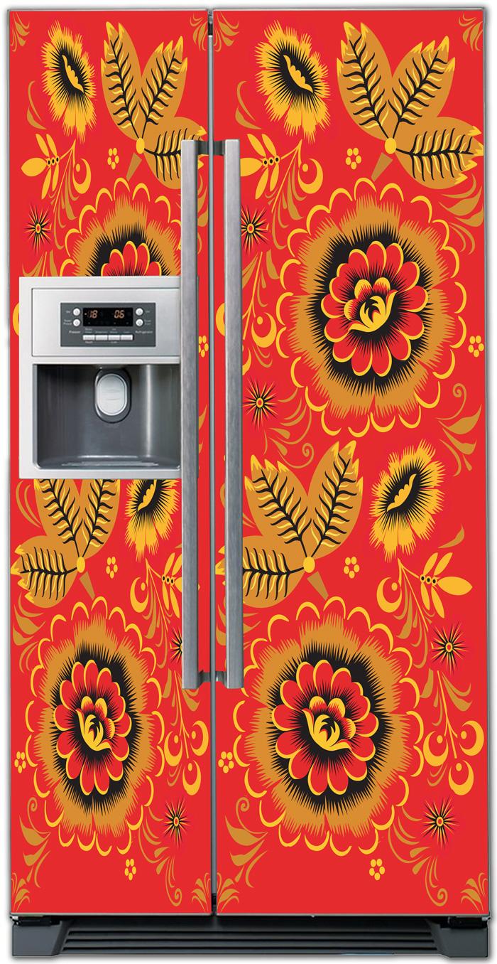 Наклейка на холодильник - Хохлома 3