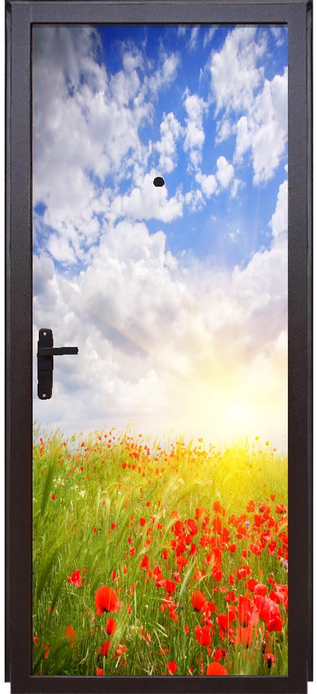 наклейка на дверь - Маки