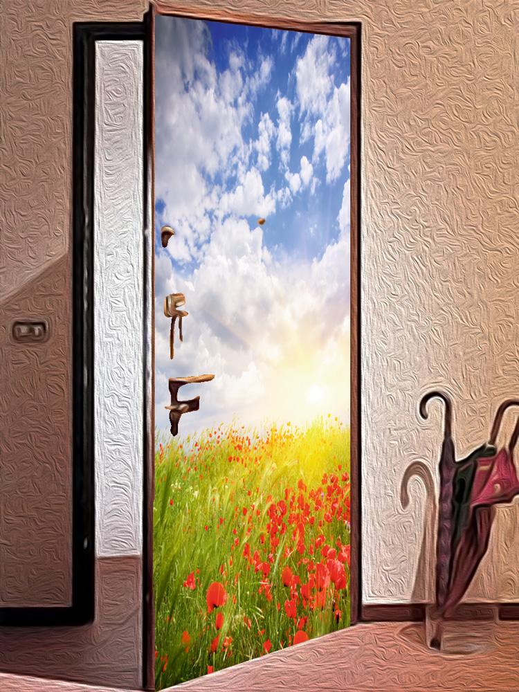 Виниловая наклейка на дверь -  Маки