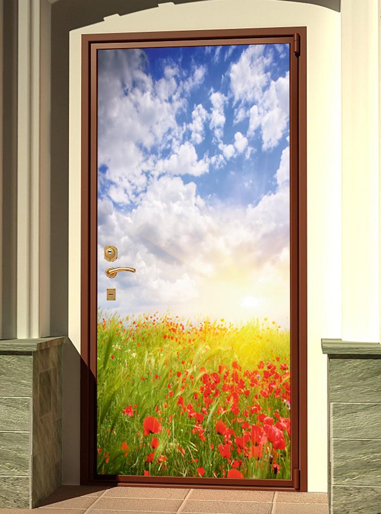 стикер на дверь -  Маки