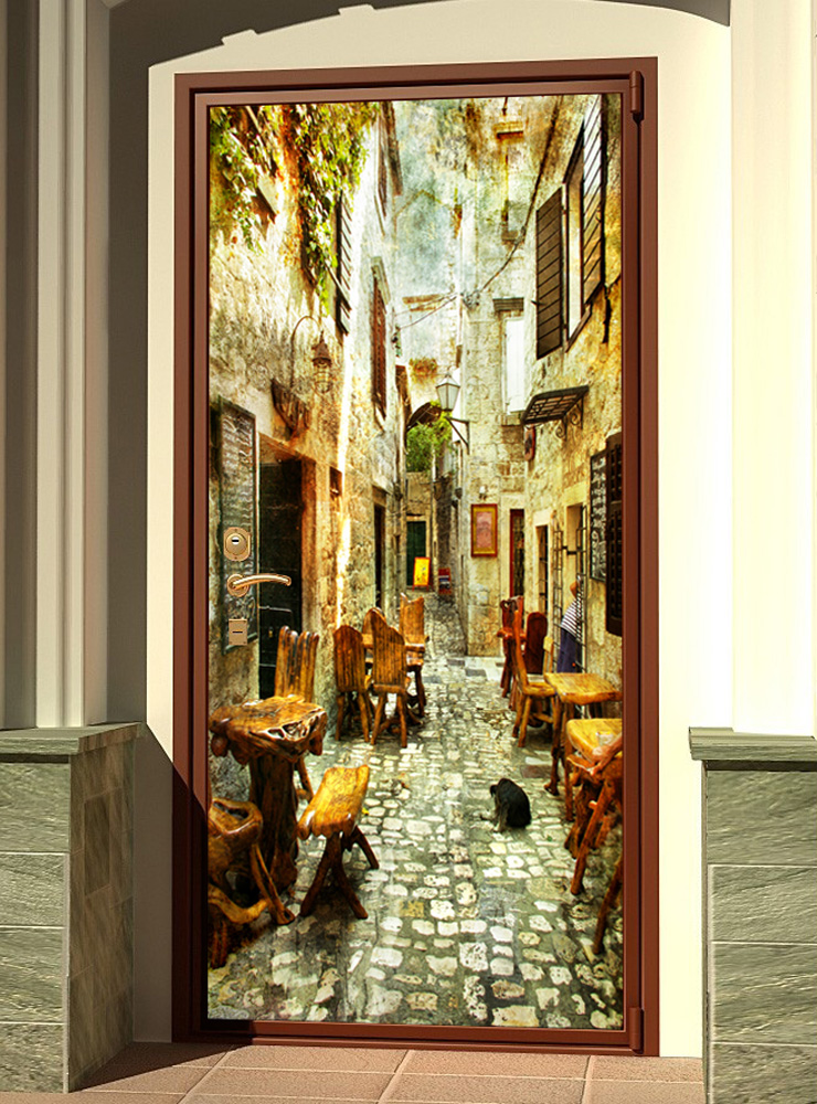 Виниловая наклейка на дверь - старые улочки Греции 1