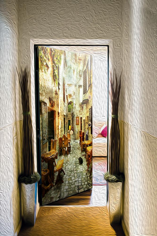 Виниловый стикер на дверь - старые улочки Греции 1