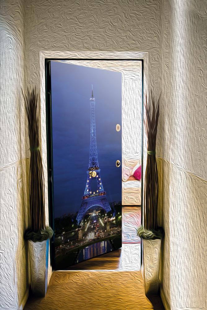 Виниловая наклейка на дверь - Paris