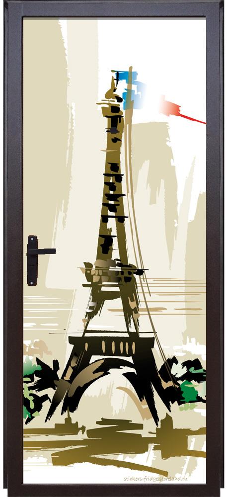 Виниловая наклейка на дверь - Париж 3