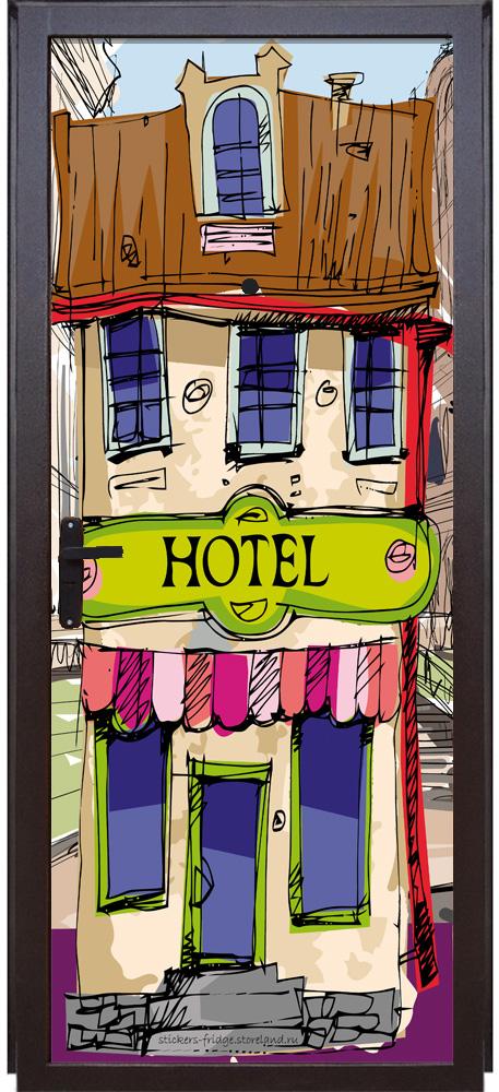 Виниловая наклейка на дверь - Отель