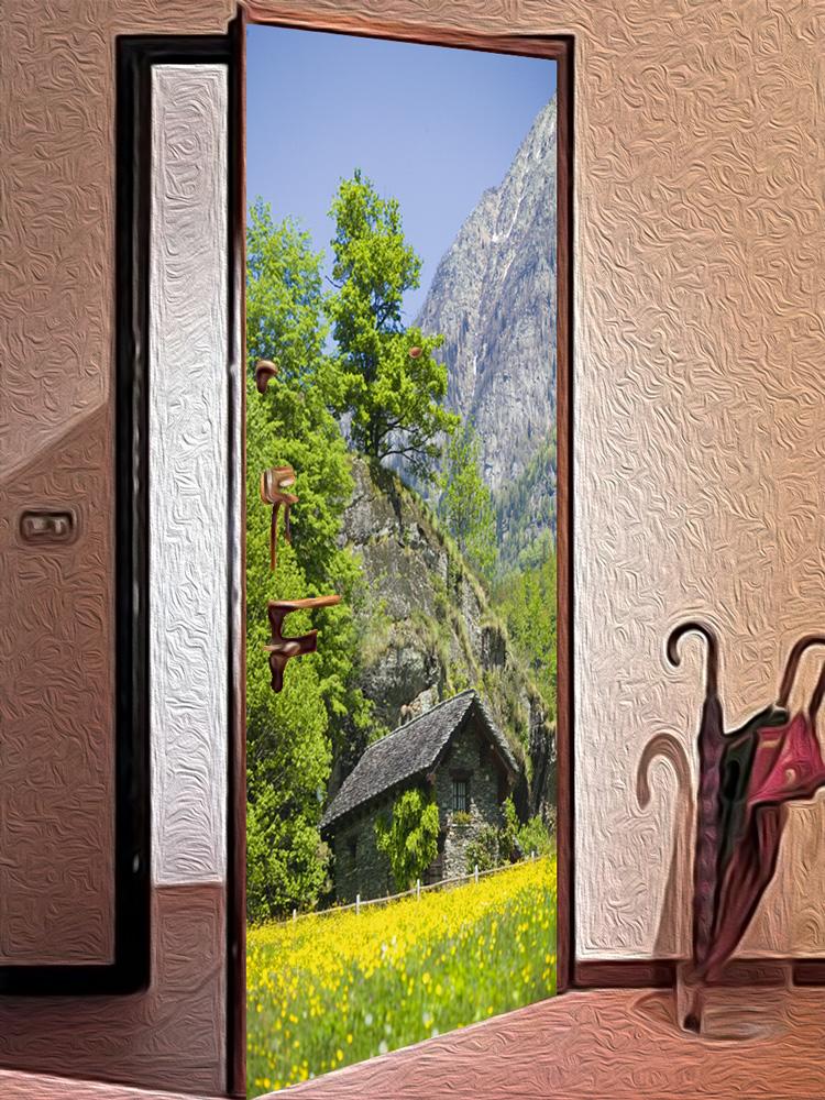Виниловая наклейка на дверь - Дом в горах