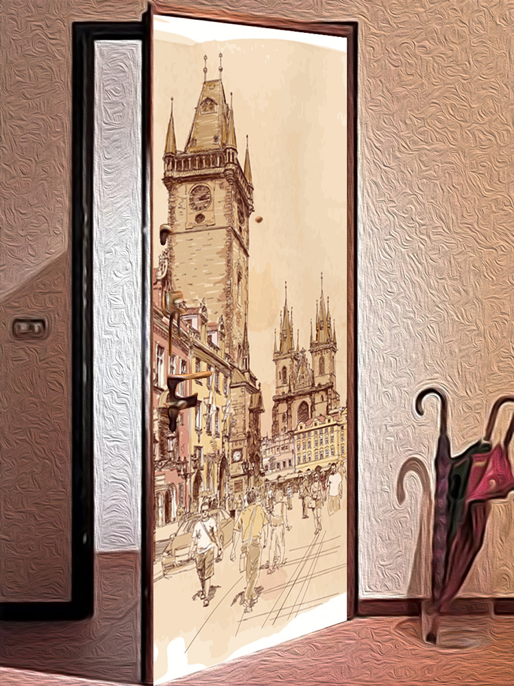 Виниловая наклейка на дверь - Город, вектор.