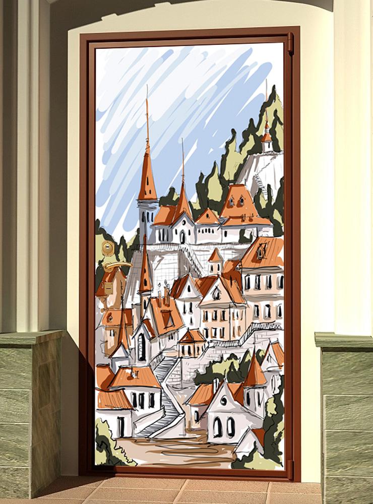 Виниловая наклейка на дверь - Город. скетч 1