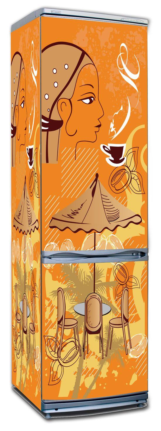 Виниловая наклейка на холодильник -  Кофе 2. Бразилия