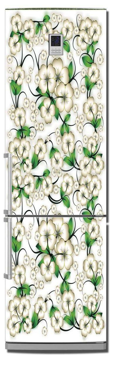 Наклейка на холодильник -  Цветочки