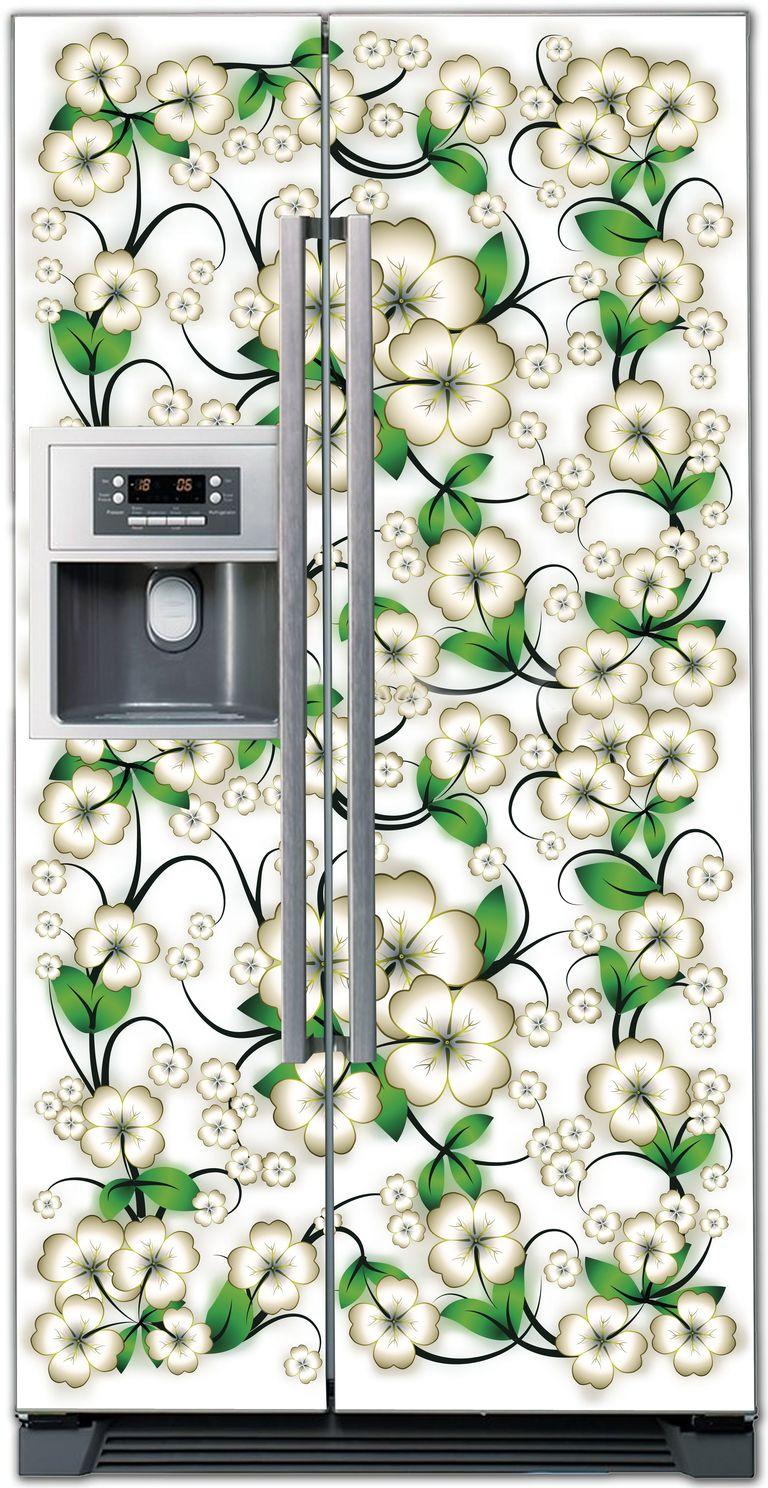 Виниловая наклейка на холодильник -  Цветочки