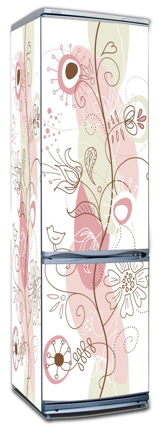 Виниловая наклейка на холодильник - Floral-1