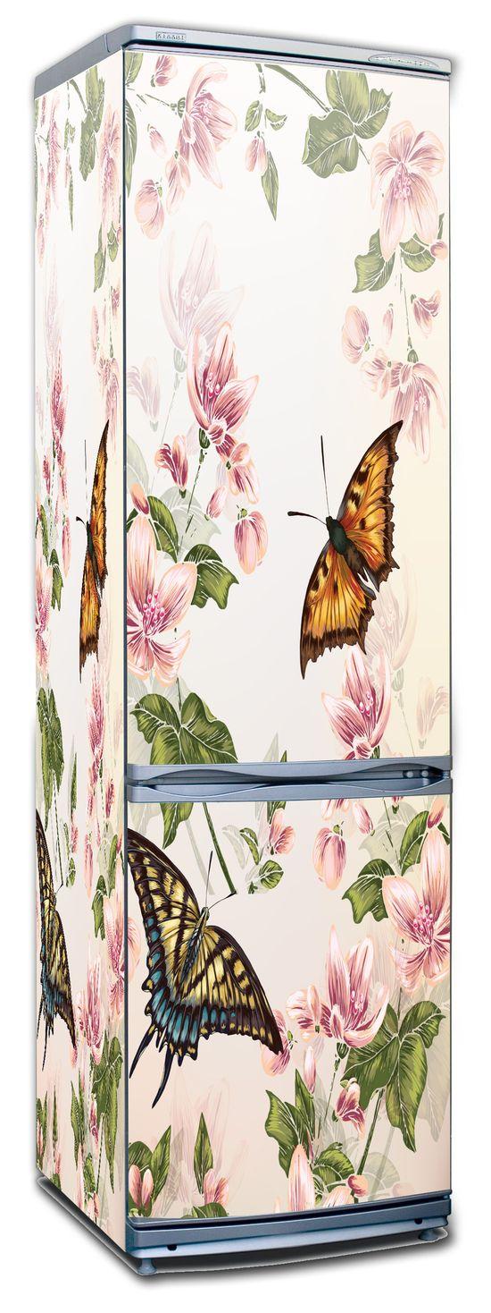 Виниловая наклейка на холодильник -  Floral-2