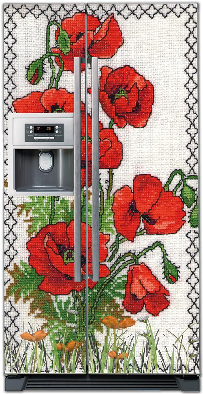 Виниловая наклейка на холодильник - Вышиванка