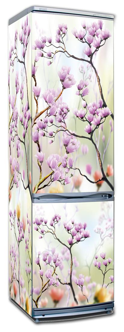 Виниловая наклейка на холодильник - Искусство цветения