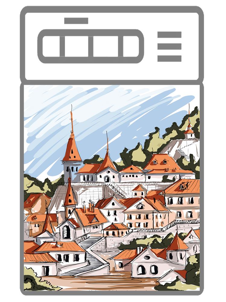 Наклейка на посудомоечную машину  - Город. скетч 1