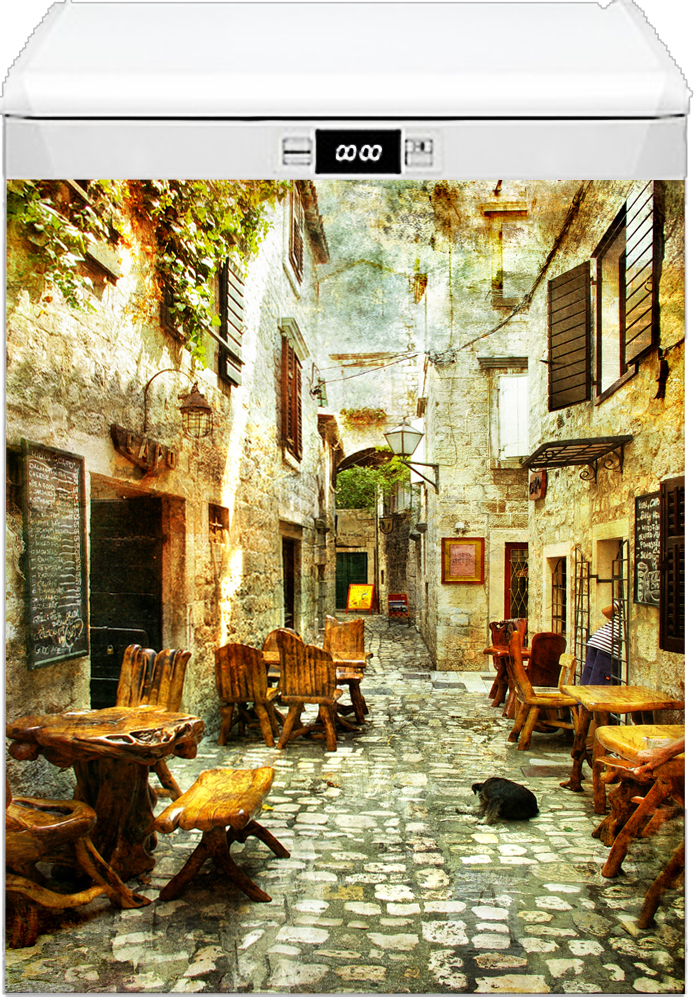 Наклейка на посудомоечную машину - Старые улочки Греции 1