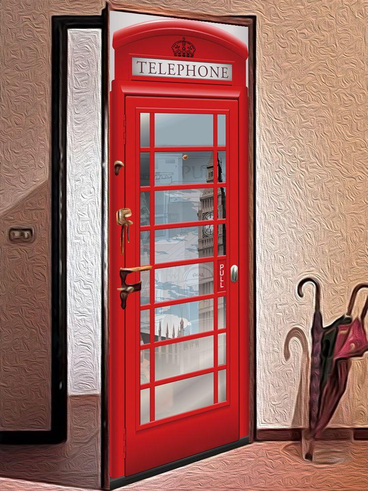 Виниловая наклейка на дверь - Телефон 2