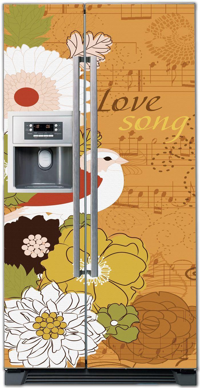 Виниловая наклейка на холодильник - Love song