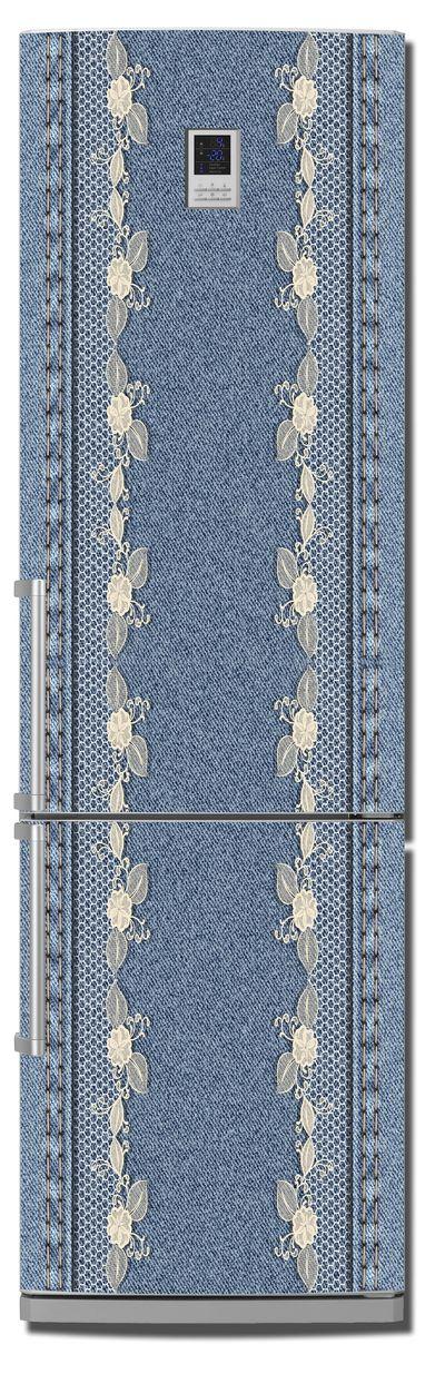 Виниловая наклейка на холодильник -  Jeans