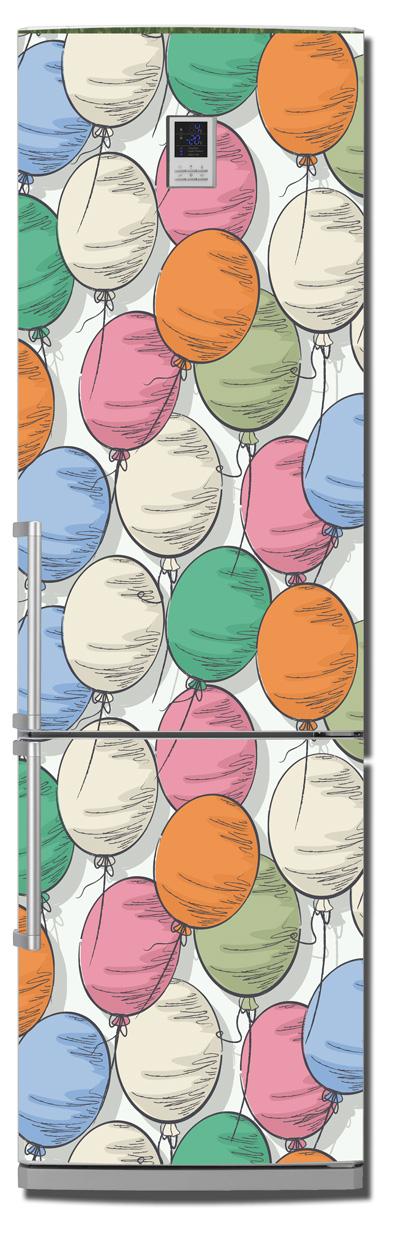 Виниловая наклейка на холодильник -  Шарики