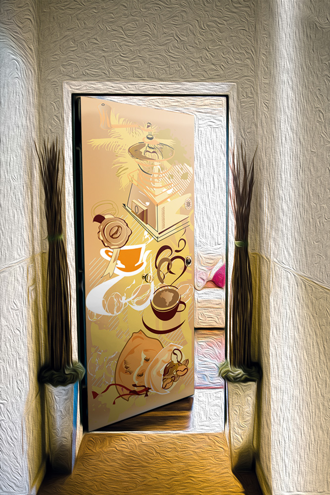 Виниловая наклейка на дверь - Кофе 1. Арабика