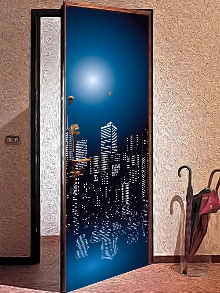 Виниловая наклейка на дверь -  Полнолуние