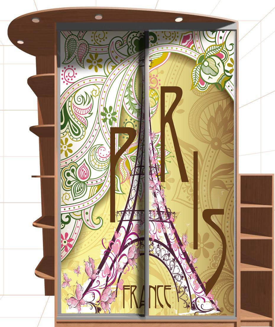 Наклейка на шкаф - Винтаж. Париж