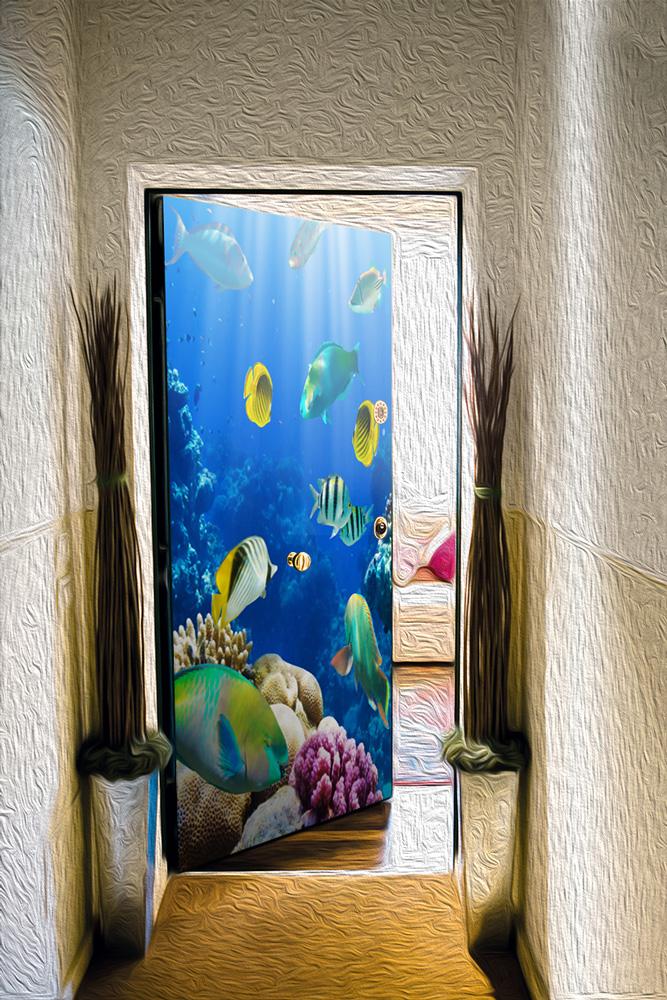 Виниловая наклейка на дверь -  Лагуна