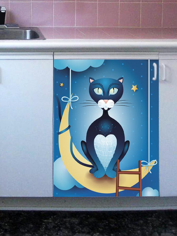 Наклейка на посудомоечную машину  - Кот