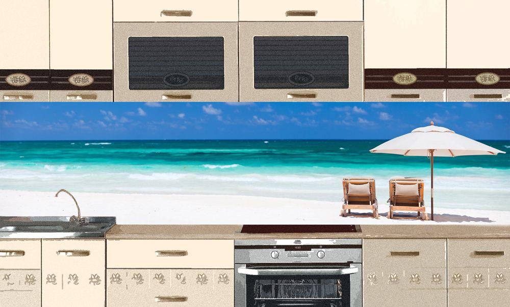 Фартук для кухни.  Наклейка - Пляж 2