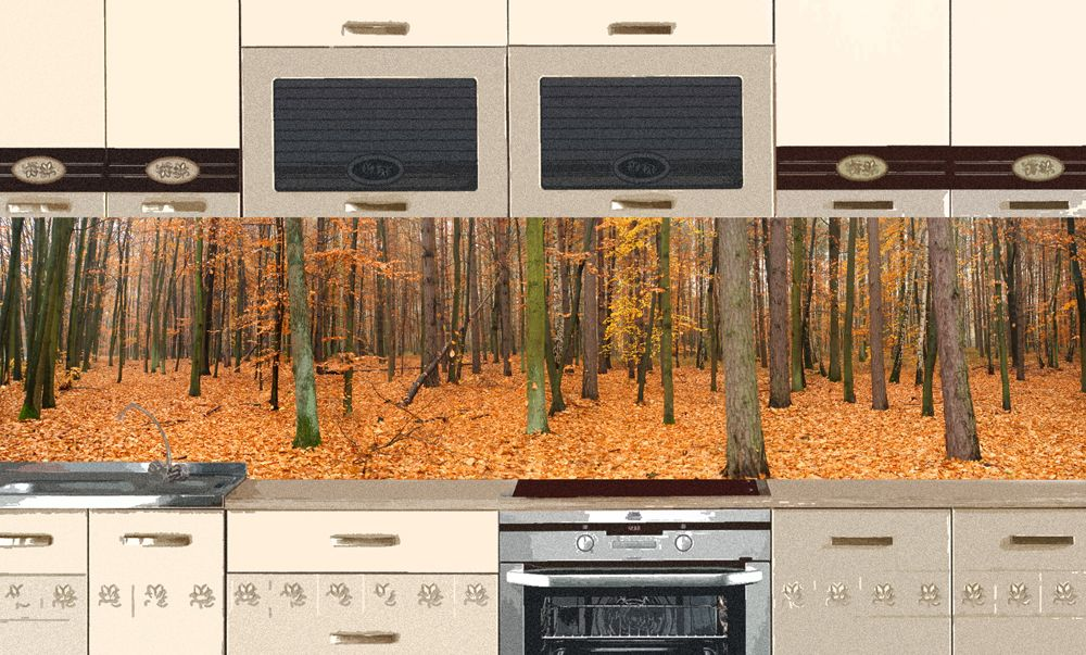Виниловая наклейка на фартук кухни - Осенний лес
