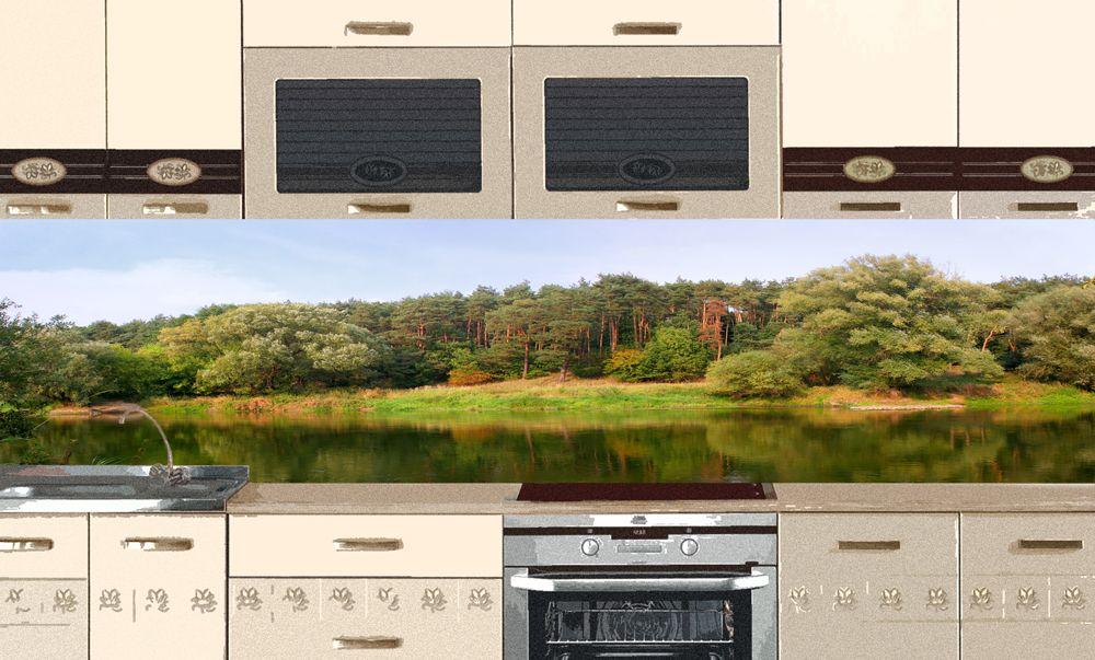 Виниловая наклейка на фартук кухни - На озере