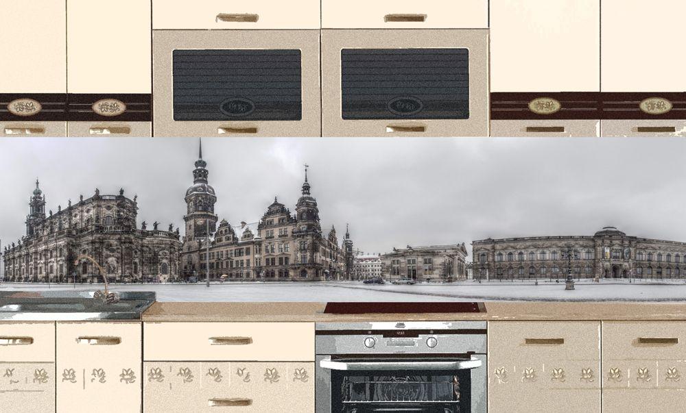 Виниловая наклейка для фартука на кухню - Зимняя площадь.