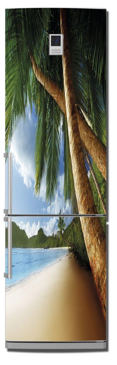 Виниловая наклейка на холодильник -  Пляж 3